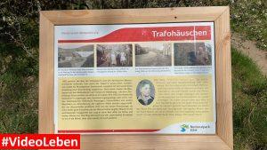 Hinweisschild Trafohäuschen in Wollseifen - lost places - Geisterdorf im Nationalpark Eifel - Videoleben