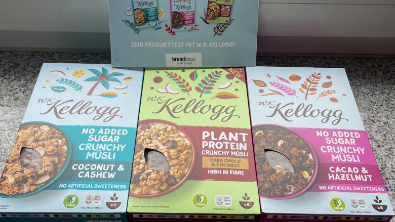Produkttest brandnooz - neue W.K. Kellogg® Müslis | Dark Choco & Coconut - Cacao & Hazelnut - Coconut & Cashew - Rezeptfamilie- Videoleben
